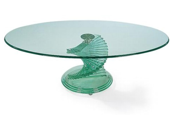 New Home Furnishers Oval Glass Coffee Table
