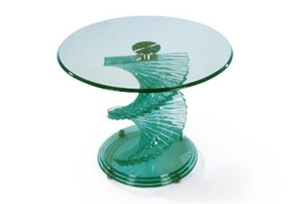 New Home Furnishers Spiral Glass Coffee Table