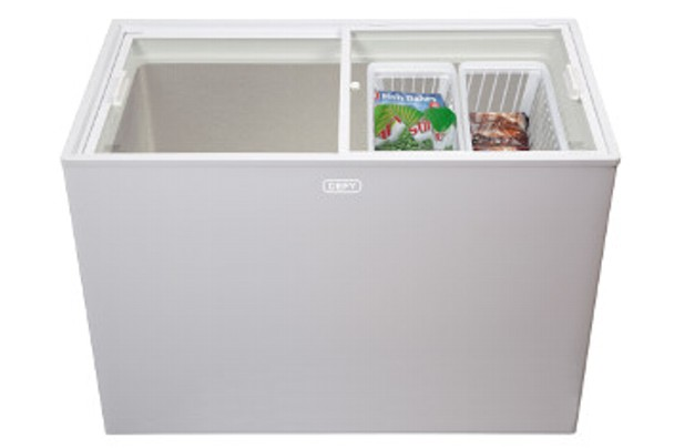 New Home Furnishers 187 Defy Glass Top White Chest Freezer