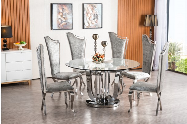 New Home Furnishers 187 Violen 9piece Chrome Dining Room